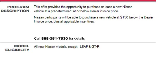 Military VPP Program Vehicle Purchase Program Bay Ridge Nissan - 1 below factory invoice