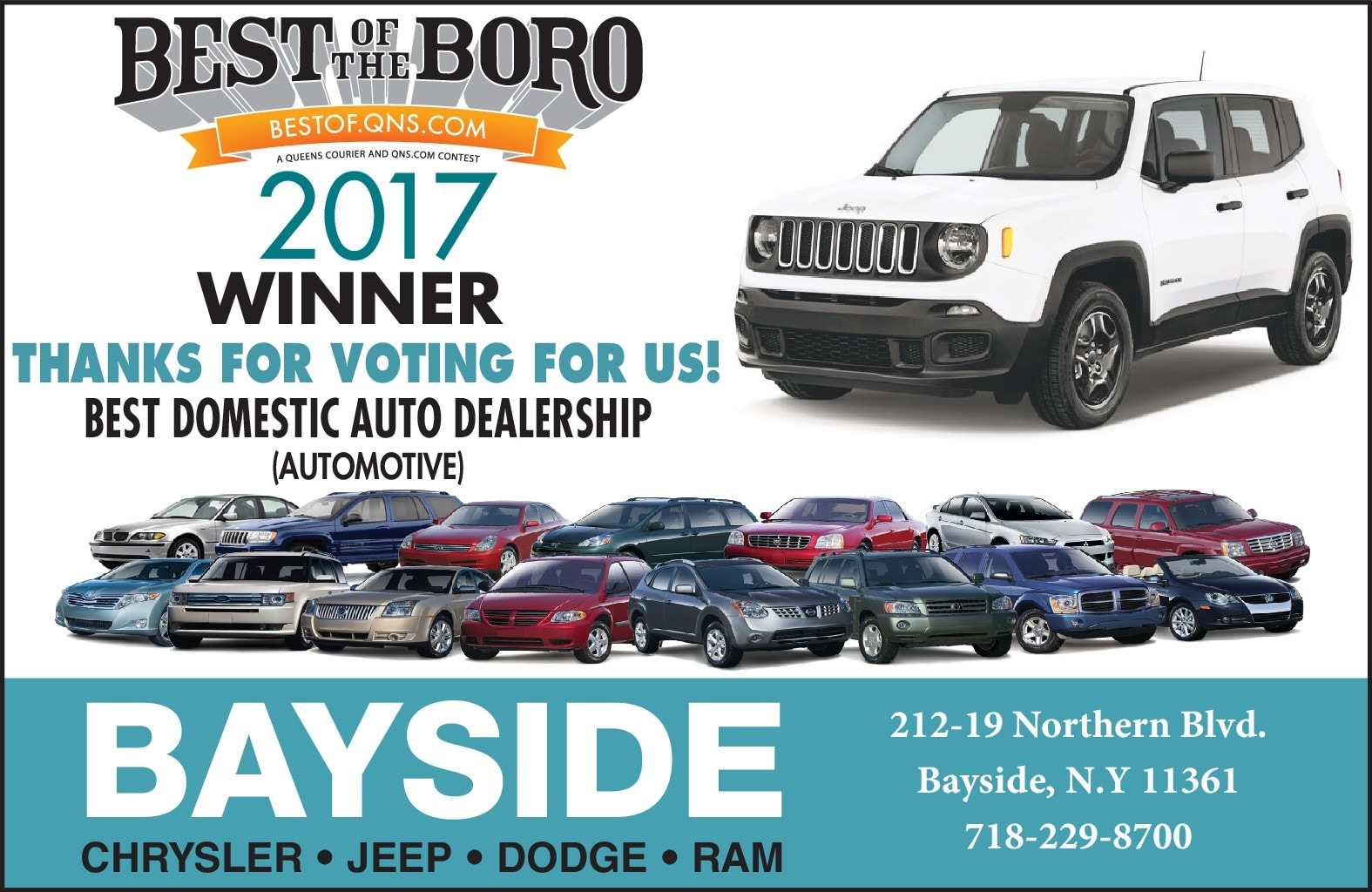 Bayside Chrysler Jeep Dodge Has Been Voted The Best Domestic Auto  Dealership By The Readership Of The Website Best Of Queens In Their ...