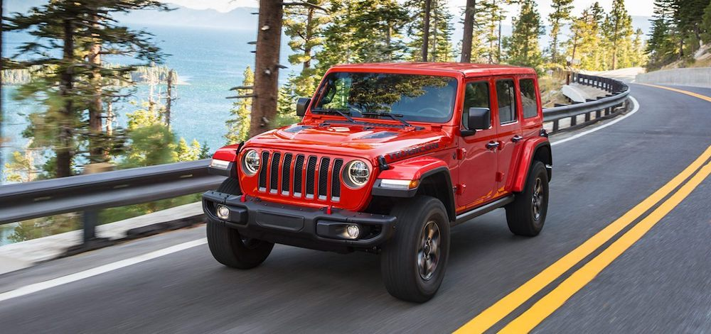 Frontal view of the 2021 Jeep Wrangler Rubicon driving