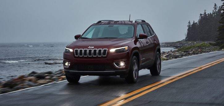 Frontal view of the 2021 Jeep Cherokee driving