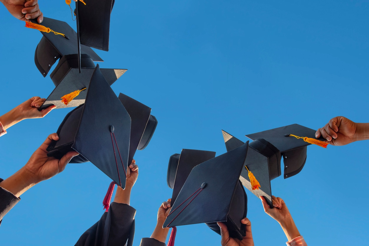 College Grad throwing Their Caps in the Air