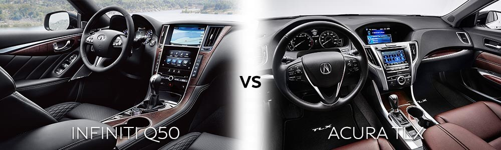 The INFINITI Q50 vs the Acura TLX interior layout. The INFINITI looks more sophisticated and engaging whereas the Honda-like interior on the Acura does little for the senses.