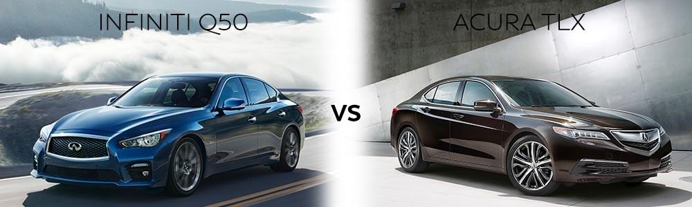 INFINITi Q50 vs Acura TLX exterior profile.