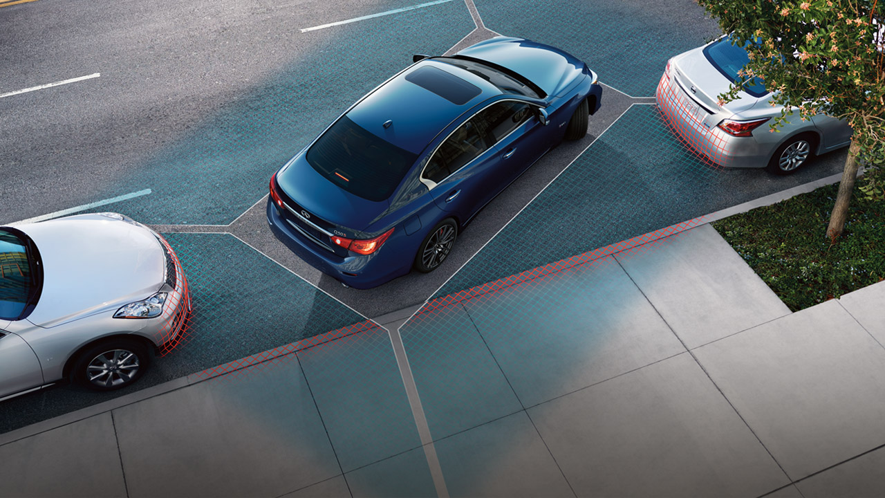 INFINITI Q50 available Around-view Monitor with Moving Object Detection. Not available on the Lexus IS