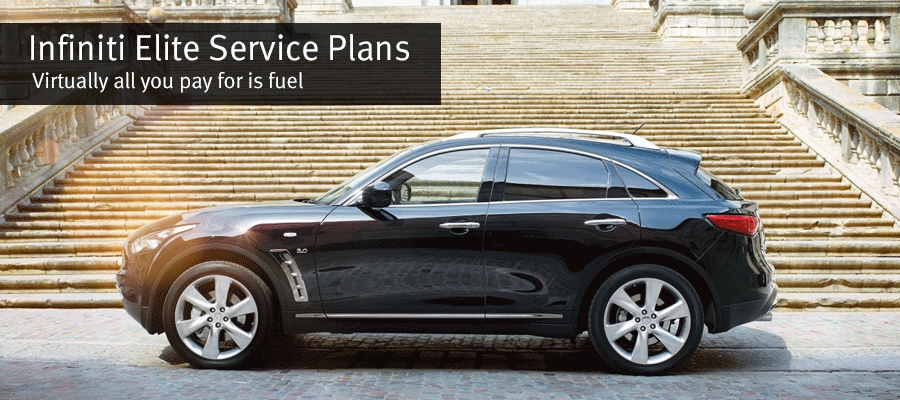 Image of a 2015 INFINITI QX70 SUV with the title INFINITI Elite Service Plans. Virtually all you pay for is fuel.