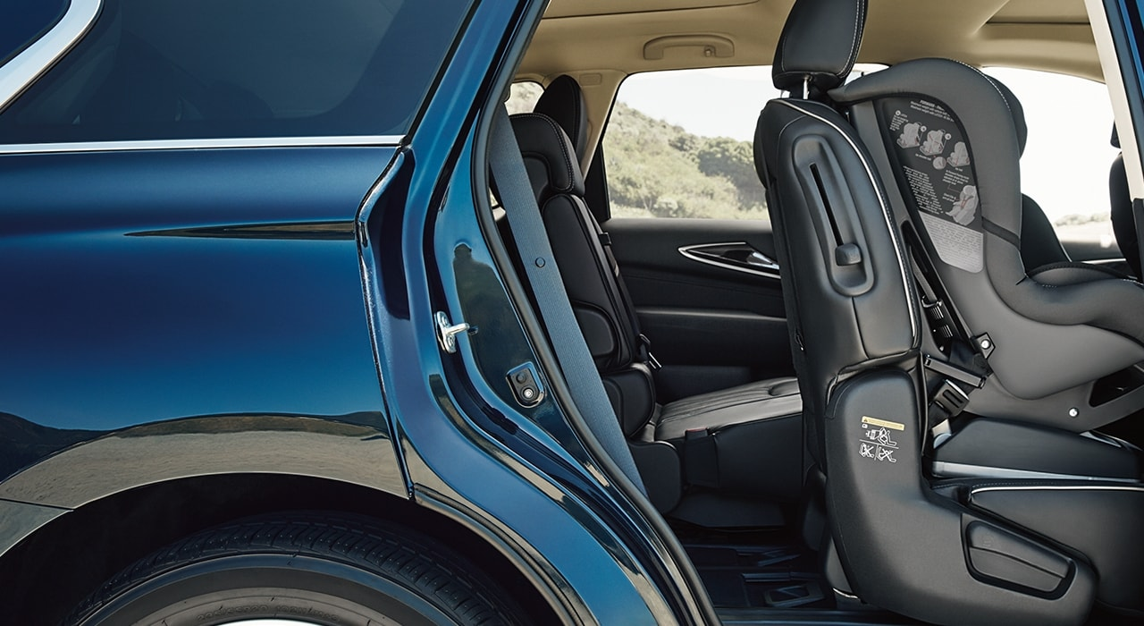 INFINITI QX60 thrid row access can be achieved even with a child seat in place.