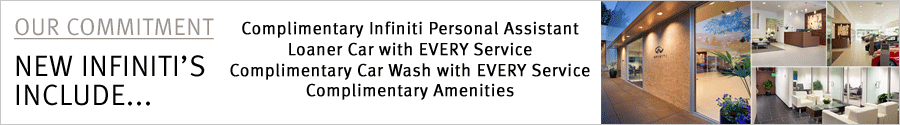 Beaverton Infiniti Includes many benefits for our valued new vehicle clients. This includes Infiniti Personal Assistant, loaner car with EVERY service, car wash with EVERY service, and more.