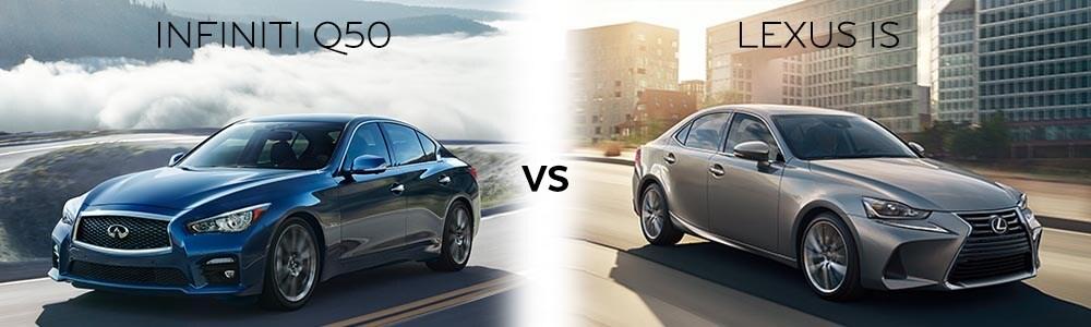 INFINITi Q50 vs Lexus IS 350 exterior profile.