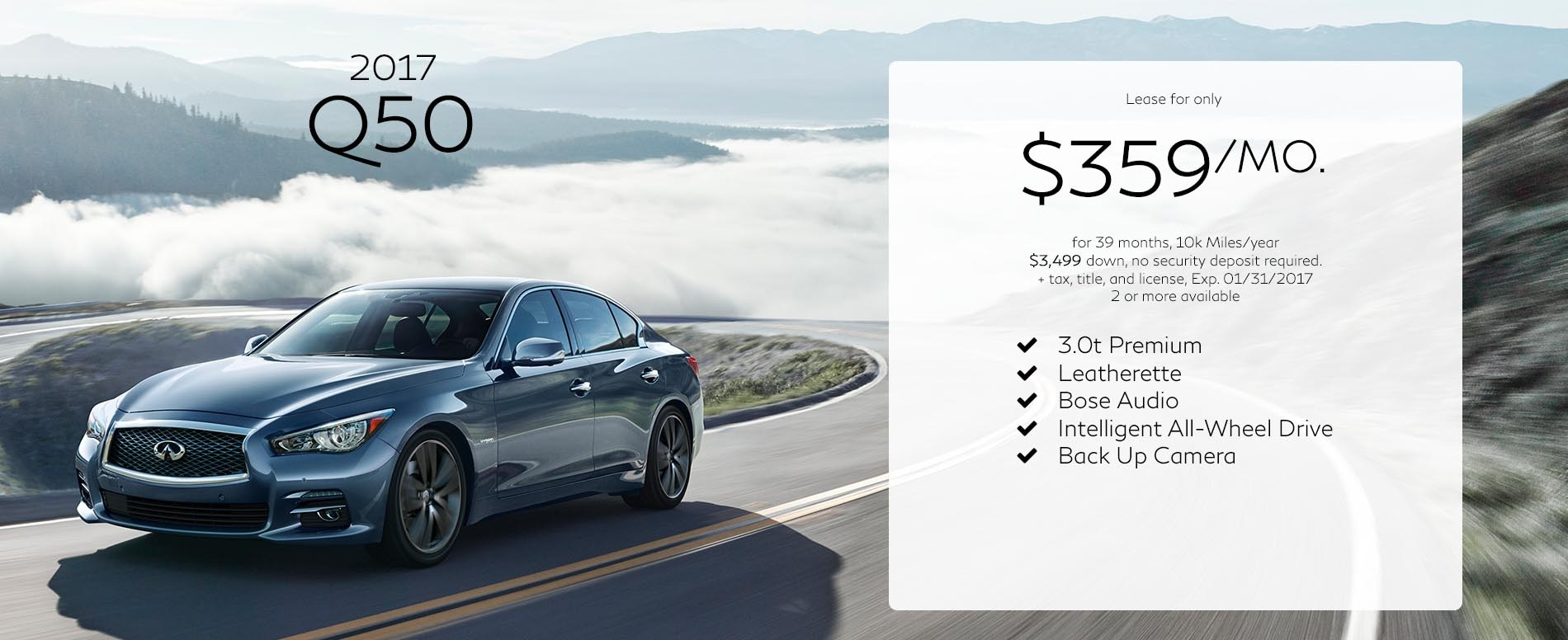 Lease a 2017 Infiniti Q50 for $359 per month with $3,499 due at signing
