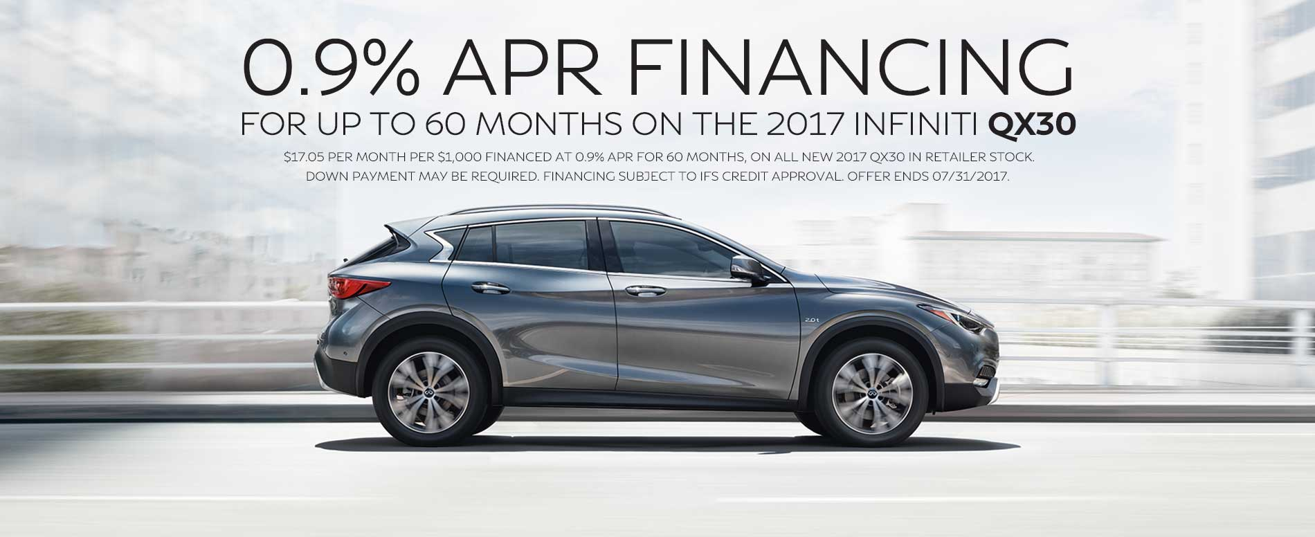 0.9% APR Financing for for up to 60 months on 2017 QX30.
