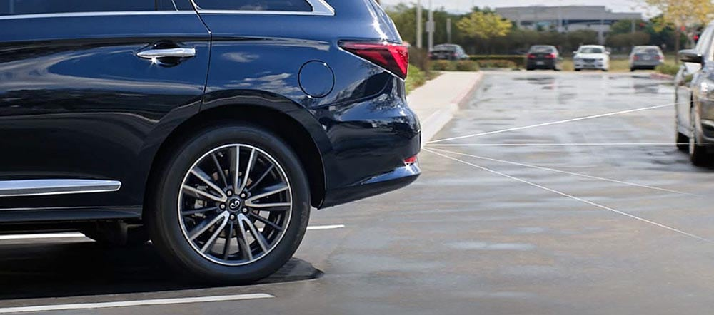 INFINITI QX60 Backup Collision Intervention will stop the car if an object is detected within the predicted path of the vehicle while in reverse.