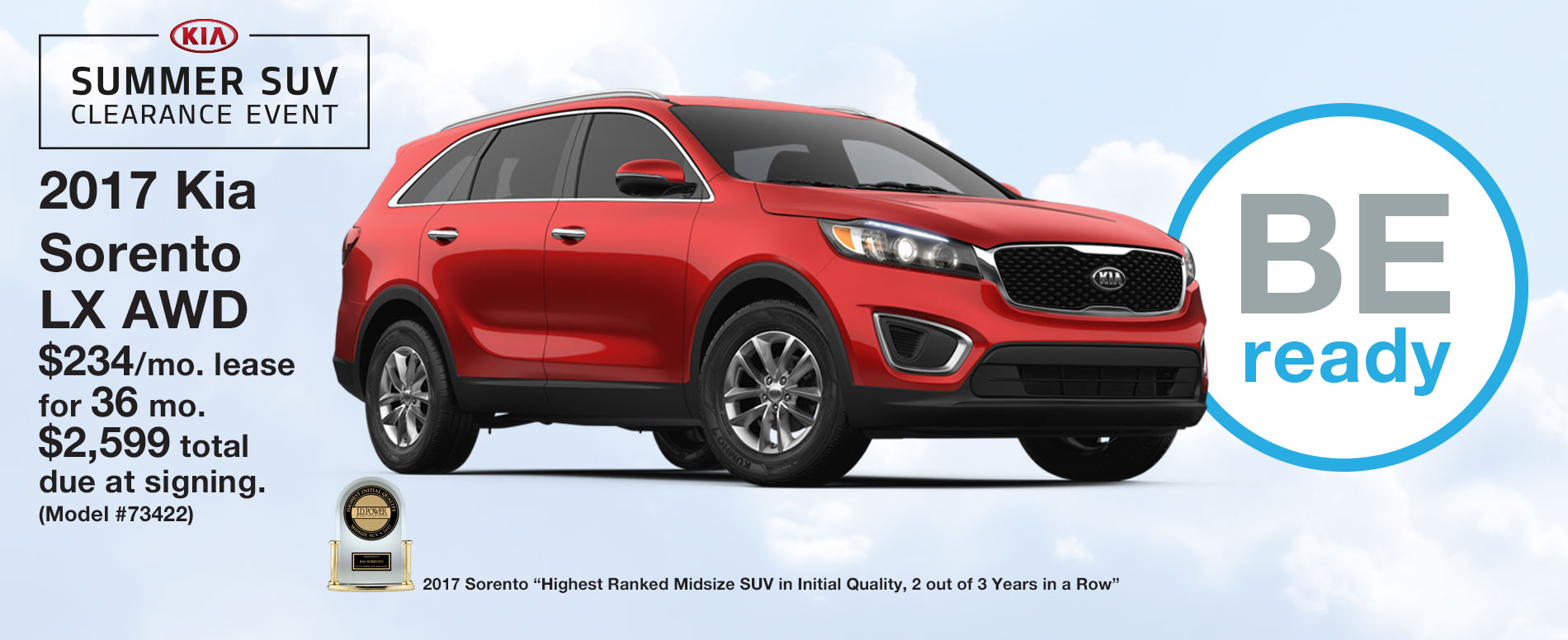 2017 Kia Sorento LX AWD Lease $234 per month for 36 months with $2,599 due at signing