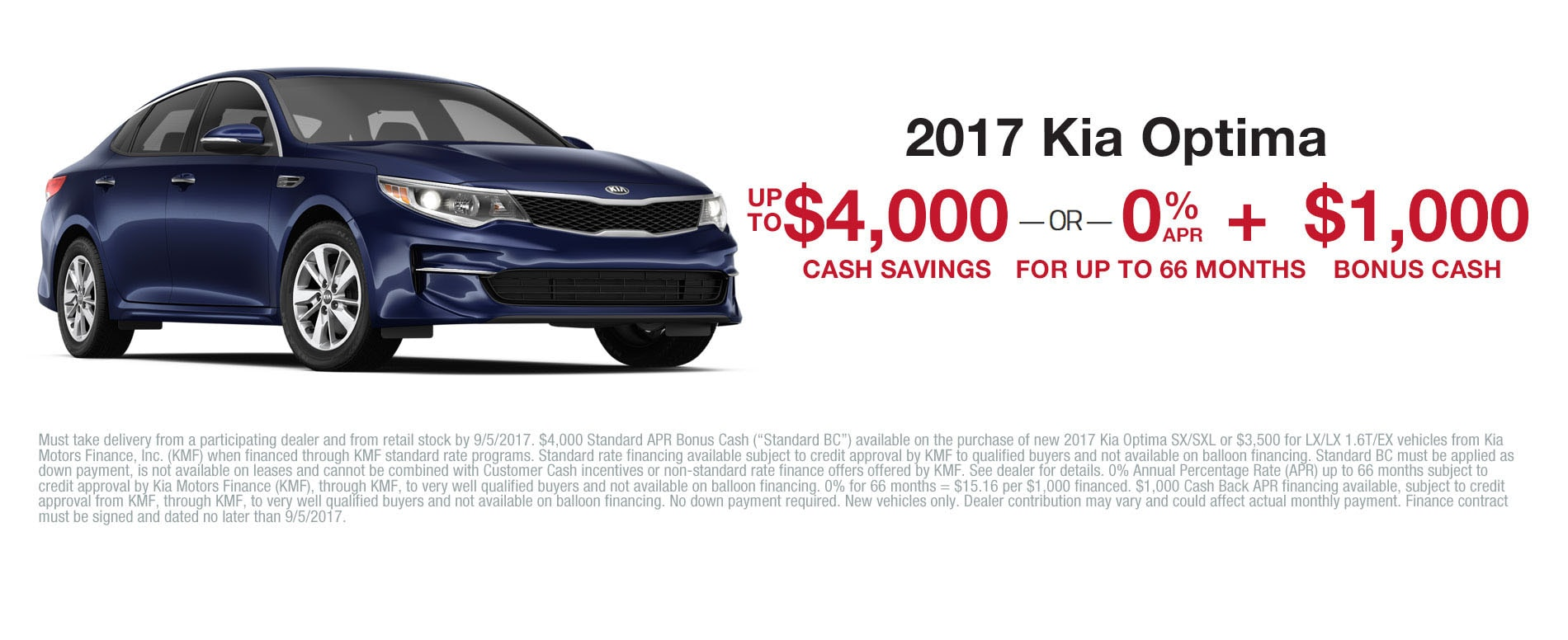 Get $4,000 cash savings or 0% APR financing up to 66 months plus $1,000 in cash savings when you purchase a 2017 Kia Optima