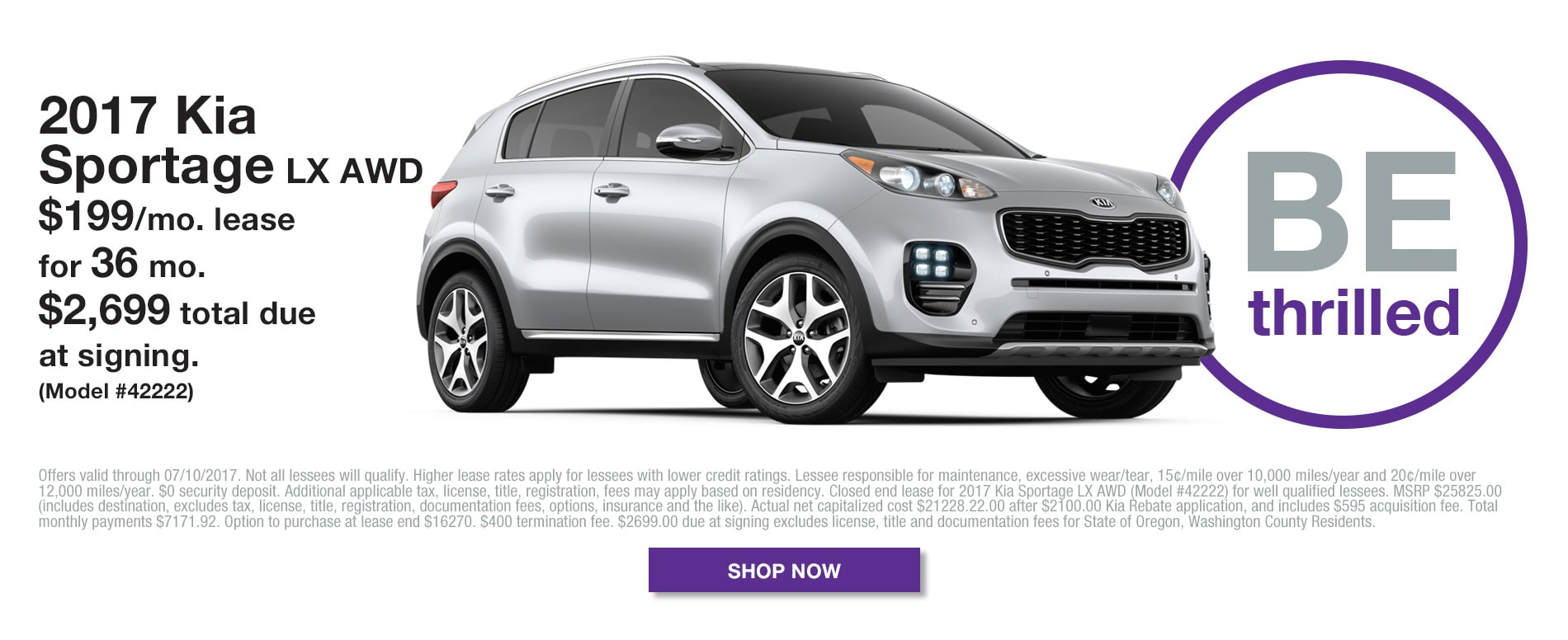 2017 Kia Sportage LX - Model# 42422 - Lease for $199/mo for 36 months with $2699 due at signing.