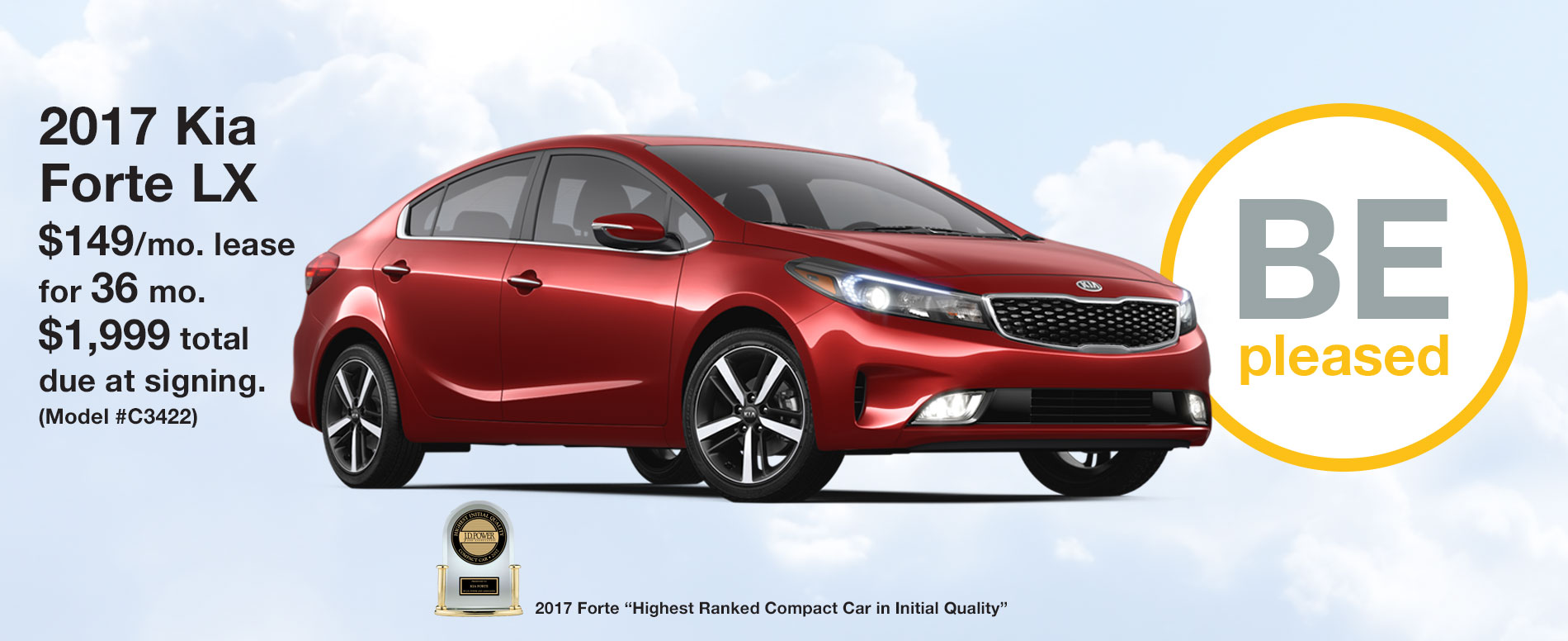 2017 Kia Forte LX Lease $149 per month for 36 months with $1,999 due at signing.