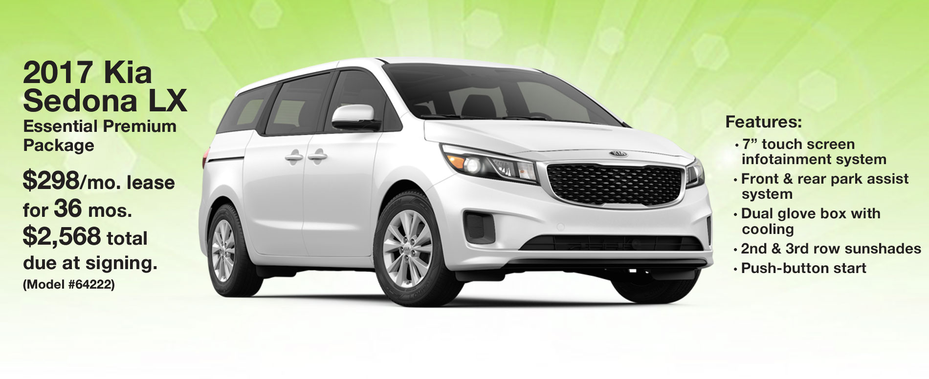 2017 Kia Sedona LX Lease $299 per month for 36 months with $1,999 due at signing