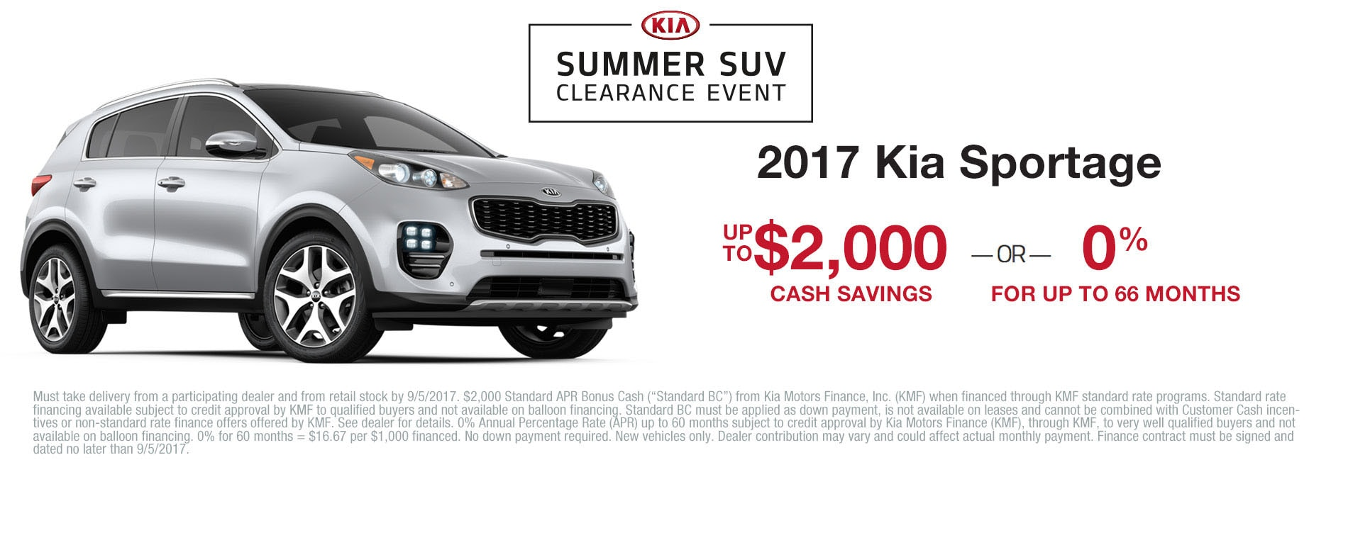 Get $2,000 cash savings or 0% APR financing up to 60 months when you purchase a 2017 Kia Sportage.