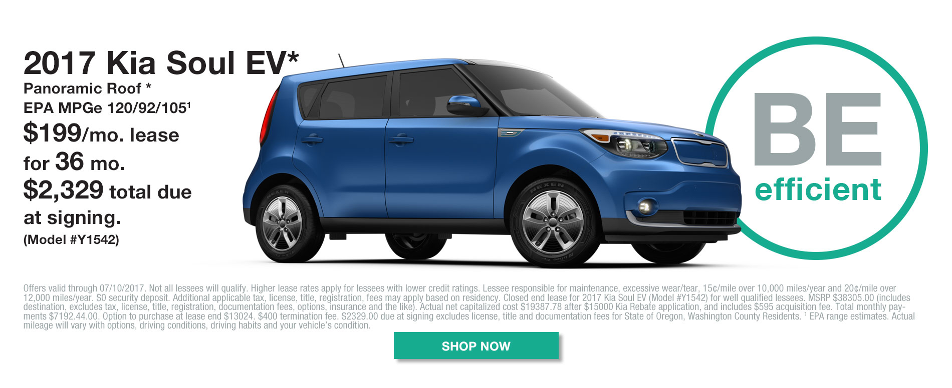 2017 Kia Soul EV - Model# Y1542 - Lease for $199/mo for 36 months with $2329 due at signing.