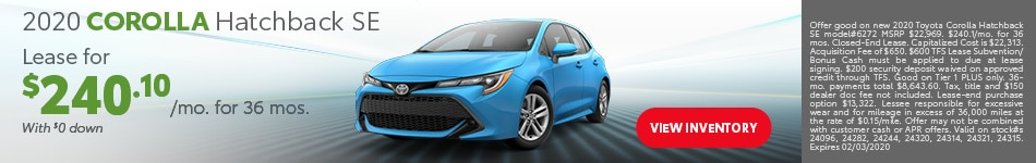 January 2020 Corolla Hatchback SE