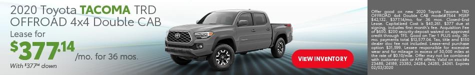 January 2020 Toyota Tacoma TRD OFFROAD 4x4 Double CAB