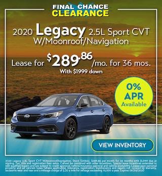 2020 Legacy 2.5L Sport CVT W/Moonroof/Navigation