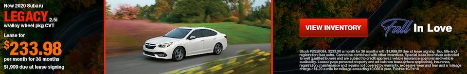 New 2020 Subaru Legacy 2.5i w/alloy wheel pkg CVT