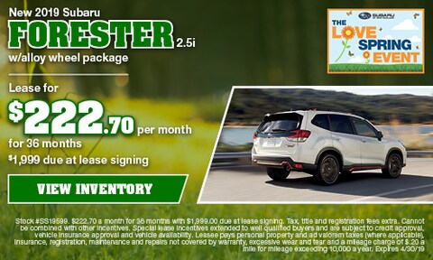 New 2019 Subaru Forester 2.5i w/alloy wheel package