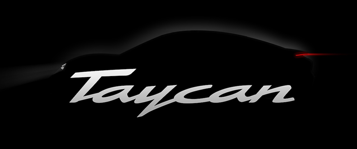 Porsche Taycan silhouette and logo