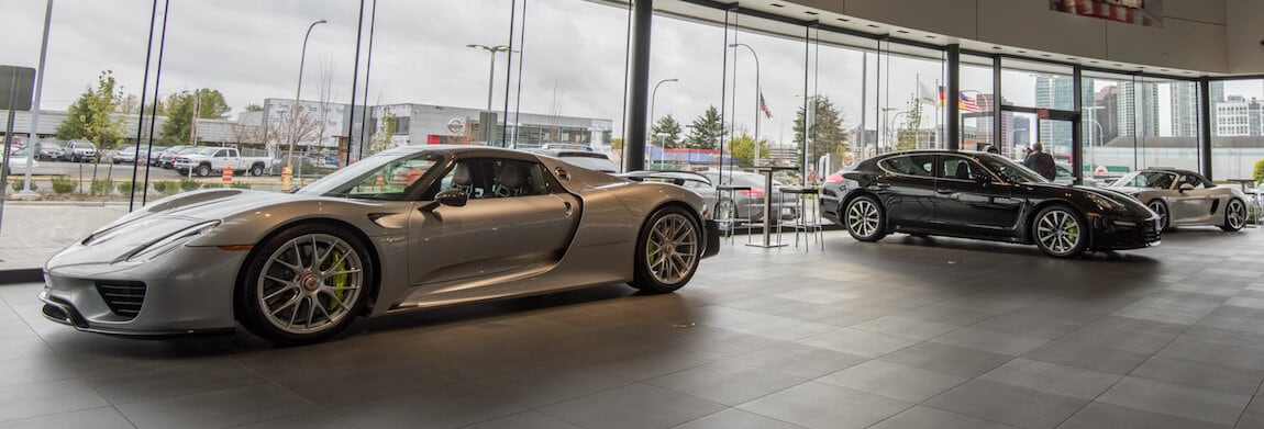 Porsche 918 Spyder inside Porsche Bellevue showroom