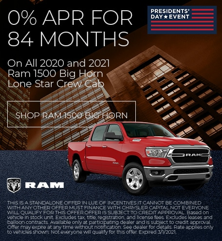 0% APR for 84 Month 2020 and 2021 Ram 1500 Big Horn/Lone Star