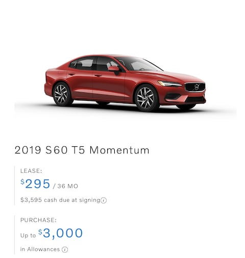 S60 T5 AWD Momentum Lease only $295