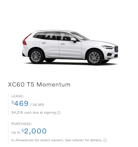 XC60 T5 Momentum Lease only $469