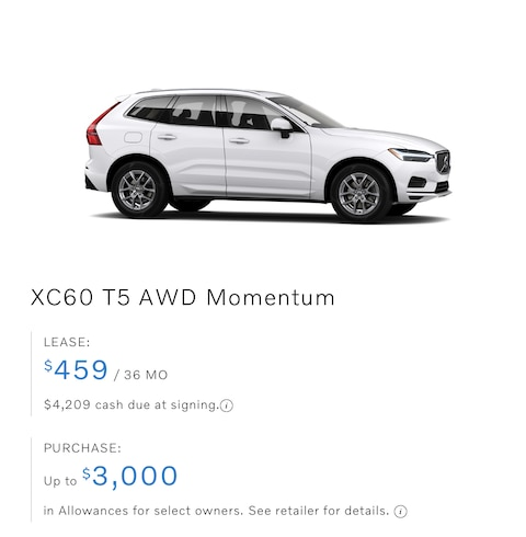 XC60 T5 AWD Momentum Lease only $459