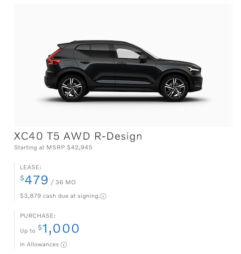 XC40 T5 AWD R-Design Lease only $479