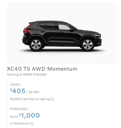 XC40 T5 AWD Momentum Lease only $405