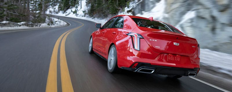 Red 2021 Cadillac CT4 Rear View