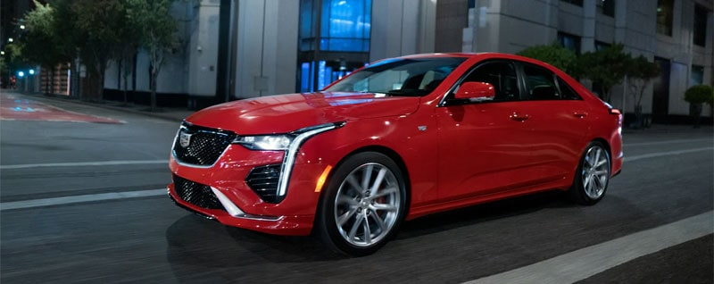 Red 2021 Cadillac CT4 Front Exterior