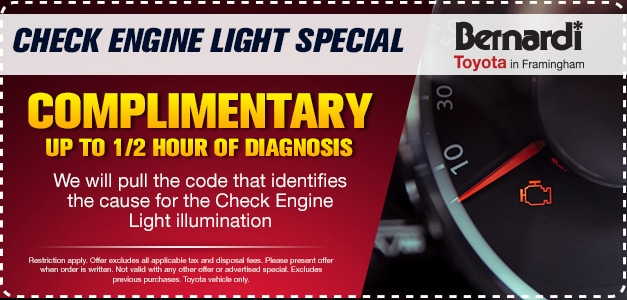 Complimentary Diagnosis For Check Engine Light Up To 1/2 Hour