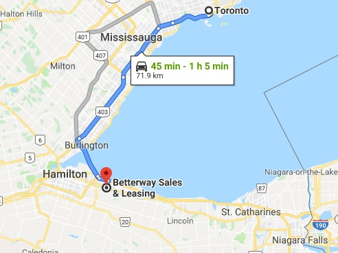 directions to Betterway Sales & Leasing from Toronto