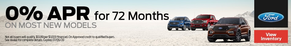 0% APR for 72 Months on most new models