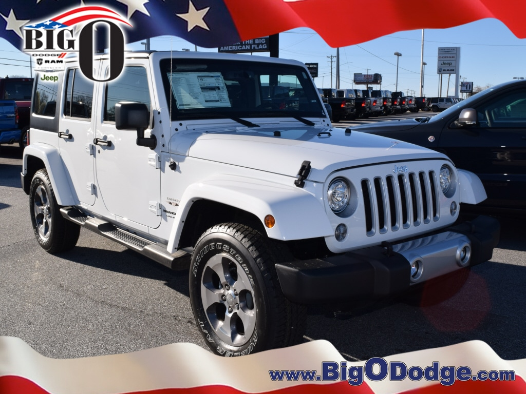 New 2018 Jeep Wrangler Unlimited WRANGLER JK UNLIMITED SAHARA 4X4 Bright  White For Sale/Lease In Greenville SC | VIN# 1C4BJWEG7JL867667