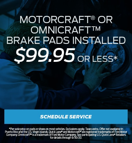 MOTORCRAFT® OR OMNICRAFT™ BRAKE PADS INSTALLED