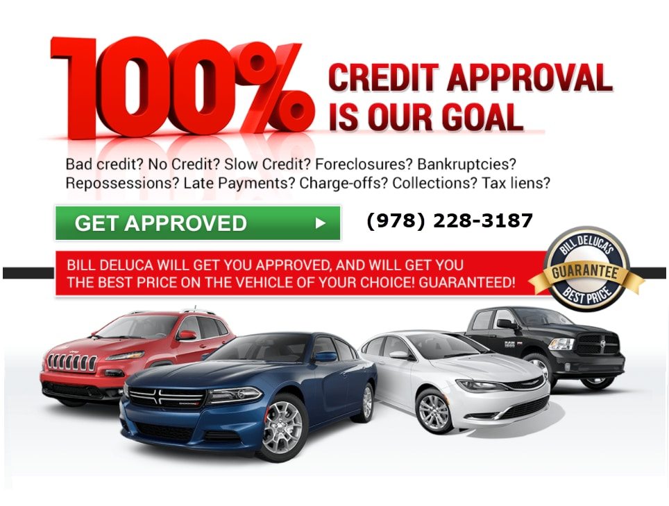 100% CREDIT APPROVAL IS OUR GOAL Bad credit? No Credit? Slow Credit? Foreclosures? Bankruptcies? Repossessions? Late Payments? Charge-offs? Collections? Tax liens? Bill DeLuca will get you approved, and will get you the best price on the vehicle of your choice! Guaranteed!