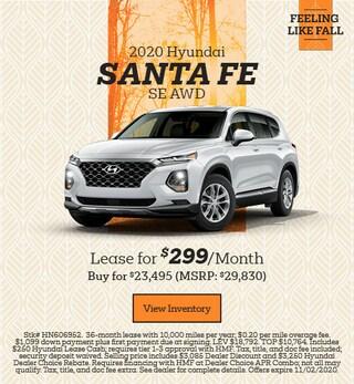 New 2020 Hyundai Santa Fe SE - October