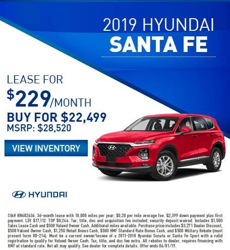 2019 Hyundai Santa Fe - Lease