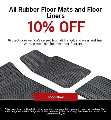 10% Off All Rubber Floor Mats & Floor Liners