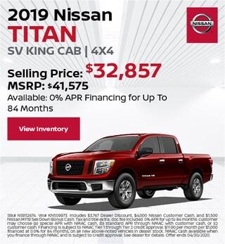 2019 Nissan Titan SV King Cab | 4x4 - April