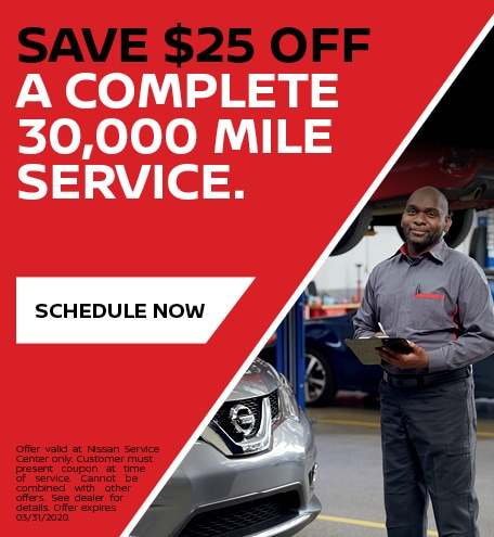 Save $25 off a complete 30,000 mile service.