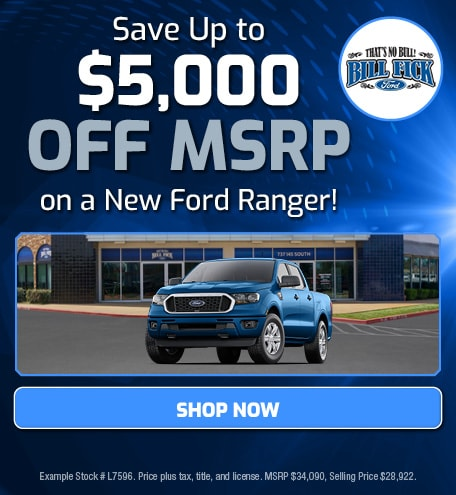 Save Up to $5,000 off MSRP on a New Ford Ranger!