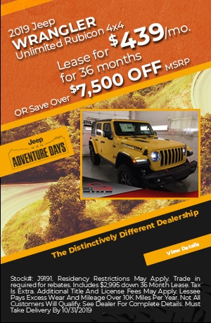 October 2019 Jeep Wrangler Unlimited Rubicon Lease Special